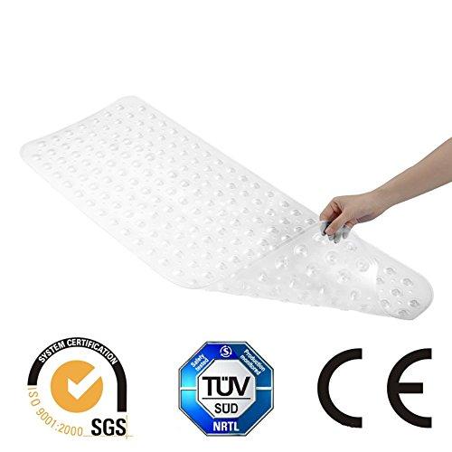 Transparent Badewanne Matten Anti-Rutsch-Wanne Badewannenmatte TUV SGS (Schimmelprävention) Anti-Bakterien-Dusche Matten, Superior Griff und Drainage Extra lange(40 cm x 100 cm)