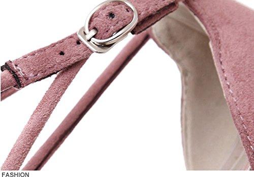 MILEEO Escarpin Femme Bloc Pointe Chassure Pointue Fille Lacet Elégant Sandale Cheville Rose