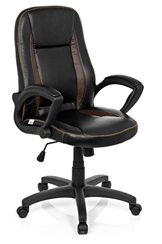 HJH Office 621864 Chaise de Bureau Gaming, Fauteuil Gamer Vintage Noir/Marron au Design rétro/Aspect Vintage en Simili-Cuir Souple avec accoudoirs, Dossier inclinable, réglable en Hauteur