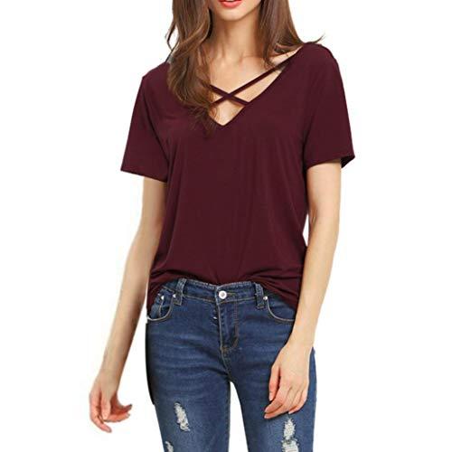 IMJONO Damen Große Größe Frauen Schulterfrei T-Shirt Spitze Langarm Casual Tops Bluse(EU-38/CN-L,Wein)