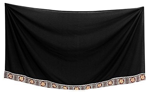 la leela Mens Bademode Badeanzug Badeanzug hawaiische Sarong Pareo Wickel verschleiern schwarz Hibiskus Spitze 2