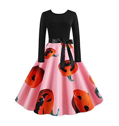 HEVÜY Kleider Damen,Frauen Kurzarm Halloween Retro Lace Vintage Kleid Eine Linie Kürbis Swing Dress Abend Party Prom Swing Dress Elegante Kleider (2019 Disney Halloween-feier)