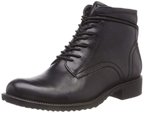Tamaris Damen 25211-21 Combat Boots, Schwarz (Black Leather 3), 40 EU (Schwarz Stiefel Damen Leder)