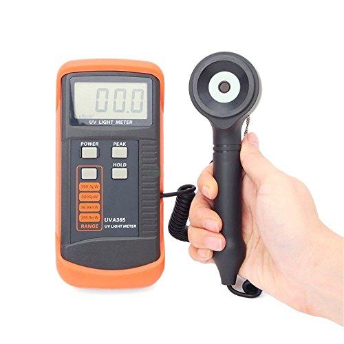 Junjiagao 400m W/cm UV-Lichtmessgerät UVA365 LSI-Schaltkreise Tester UV Sensor mit Korrekturfilter zur Lichtkorrektur von Peak Hold Funktion UVA365