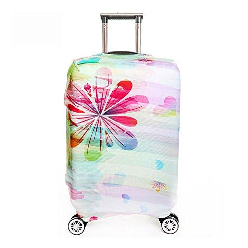 """OneSky-UK Gepäckabdeckung, personalisiertes schützendes haltbares waschbares, Koffer-Schutz-Größe passt 18-32 Zoll (L(25-28"""")Regenbogen Blume)"""