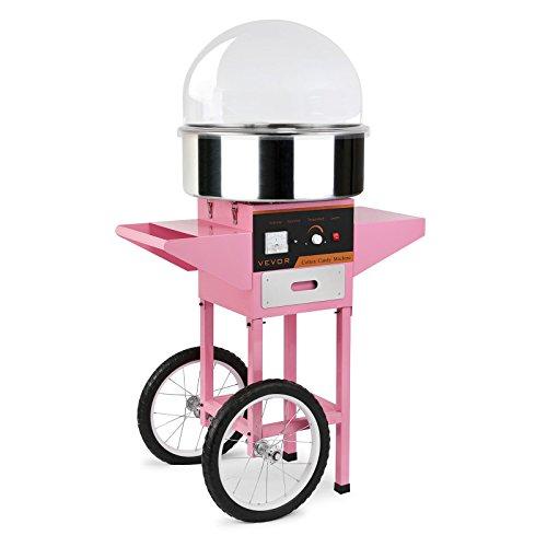 BuoQua Zuckerwattemaschine Zucker Rosa Profi Edelstahl Zuckerwatte Maschine für Zuhause 1000W Elektrische Zuckerwattegerät mit Wagen und Haube