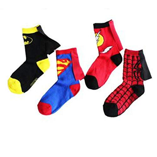 Männer Cartoon Zeichen Kostüm - WYLLA Socke, 4 Paar Kinder Cartoon Baumwollsocken Halloween Festival Party Cosplay Zubehör Bühne Sport Socke 4-6 Jahre