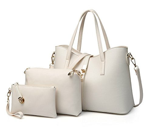emotionlin-womens-vintage-leather-pure-color-handbag-shoulder-bag-tote-satchel-hobo-setwhite