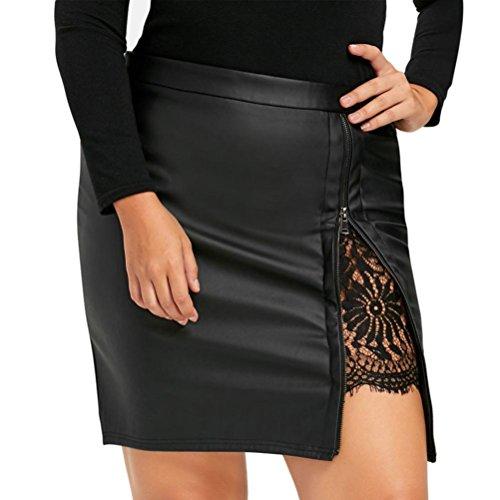 BBring Damen PU Leder Mini Rock mit Reißverschluss, Frauen Elegant Bodycon Kurzen Röcke Spitze Uniform Skirt (L, Schwarz)