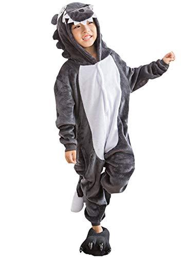 Kigurumi Tragen Kostüm - DATO Kinder Pyjamas Tier Grau Wolf Overall Flanell Cosplay Kostüm Kigurumi Jumpsuit für Mädchen und Jungen Hohe 90-148 cm