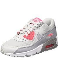 Nike Air Max 90 Mesh Gs, Zapatos para Correr Niñas, Multicolor (Pure Platinum Grey Racer Pink White), 35.5 EU
