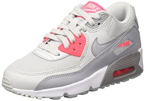 Nike Crianças Unisexo Ar Max 90 Sapatilhas Malha Gs Multicolor (puro Platina Cinzento Piloto Rosa Branca)