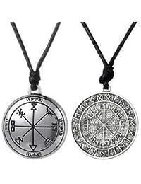 Tradico® 2Pcs Ancient Norse Viking Runes Amulet Talisman Seal Pendant Necklace Charm