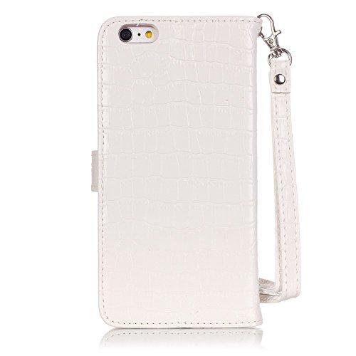 iPhone 6S Plus Housse - Modèle de crocodile Flip Case Cover Portefeuille Housse Coque pour iPhone 6 Plus / iPhone 6S Plus (5,5 Pouces) Etui en cuir Protection Étui Pochette (Pink) Blanc