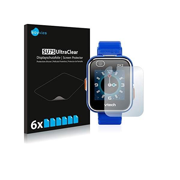 savvies Protector Pantalla Compatible con Vtech Kidizoom Smart Watch DX2 (6 Unidades) Pelicula Ultra Transparente 1