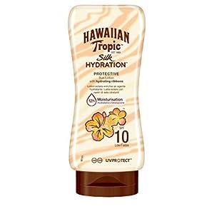 Hawaiian Tropic Silk Hydration Protective – Loción Solar Protectora con cintas de seda hidratantes y resistente al agua, formato 180 ml