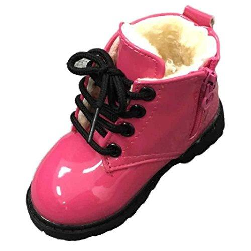 Jamicy® Bebê Do Inverno Estilo Exército Leter Criança Jovem Martin Botas Sapatos Quentes, Rosa De Algodão