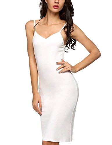 Unterkleid, SummerRio Damen Slim Fit V-Ausschnitt Knielanges Miederkleid Nachtkleid mit Träger S-XL Weiß
