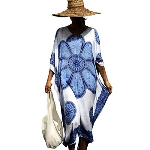 Cutebility Womens Vacation übergroßen V-Ausschnitt Strand Maxikleid Vintage Paisley Floral bedruckten Kaftan Badeanzug Cover Up Side Split Kimono Robe -
