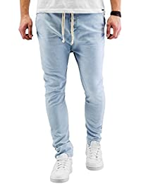 Urban Surface Herren Sweat-Jeans im Used Look | Schwarze Sweathose in Jeansoptik slim fit | bequeme Freizeithose