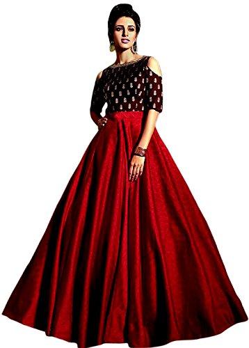 WestCoastOn Women's Embroidered Heavy Tafeta Silk Semi Stitched Lehenga Choli(7.25 meters_flair_free size)