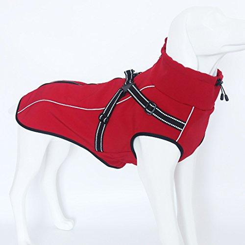 GWELL Hund Hundejacke Wasserdicht Fleece gefüttert Regenjacke Winterjacke Funktion Weste mit D-Ringe Gurt für Kleinen Großen Hund Winter Herbst Frühling Rot S