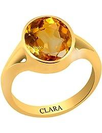 Clara Certified Citrine Sunehla 3 carat or 3.25ratti Panchdhatu Gold Plating Astrological Ring For Men & Women