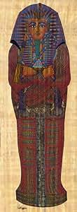 Papyrus–Peinture sarcophage égyptien–80cm x 30cm–Véritable Papyrus–Papyrus Papier Photo