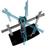 SAVONGA TV Tisch Ständer Glas Standfuss für 32 40 43 47 Zoll Fernseher schwenkbar neigbar höhenverstellbar : 497 567 oder 637mm für VESA 150x50 200x200 400x400 bis 410x405 mm Traglast 40 kg 522501F