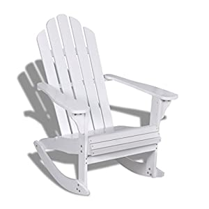 vidaXL Garden Rocking Chair Wood White Outdoor Patio Sun Lounger Armchair Seat