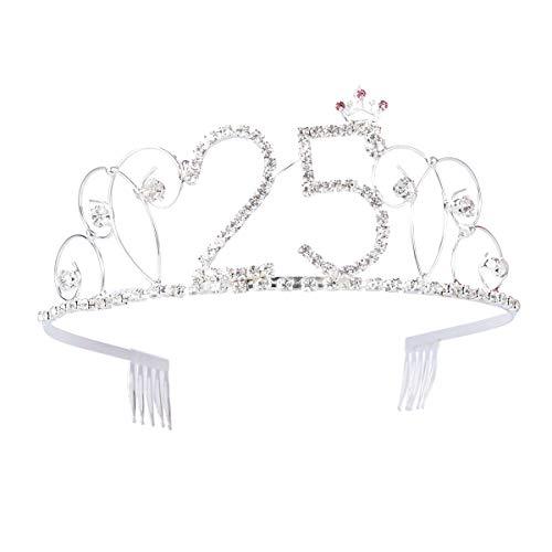 Diadem zum 25. Geburtstag mit Haarkämmen, Kristall, Krone, Strasssteine, Haarschmuck (Erwachsenen Birthday Happy)