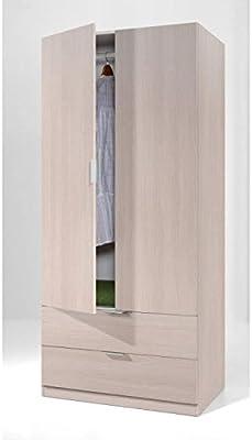 Habitdesign (00X222R) - Armario de 2 puertas y 2 cajones, Color Roble, dimensiones 81 cm x 180 cm x 52 cm