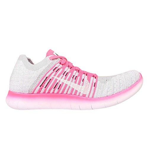 Nike Mädchen Free Rn Flyknit (Gs) Laufschuhe Blanco (Blanco (White / Black-Pink Pow-Wolf Grey))
