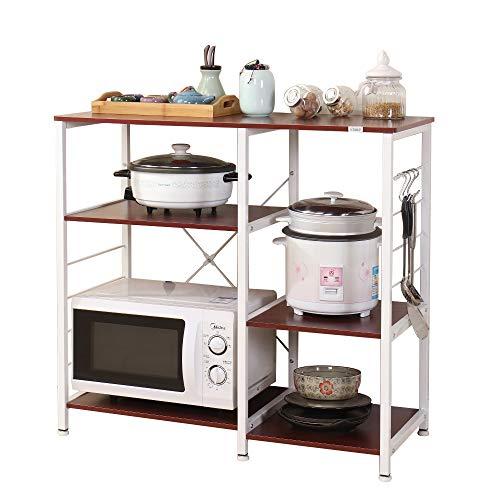 DlandHome 3+3 Ablage Mikrowellenhalter Küchenregal Bäcker Regal Standregal multifunktionale Küche Regal Speicherwagen mit Haken (Basisversion Nussbaum)