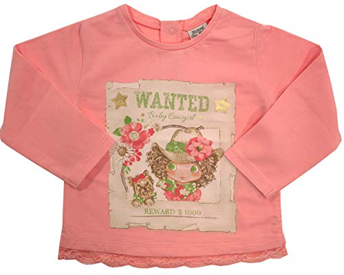 Mayoral Mädchen Baby Langarm-Shirt Baby Cowgirl, rosa mit Motiv, Gr. 68 (68) - Rosa Cowgirl