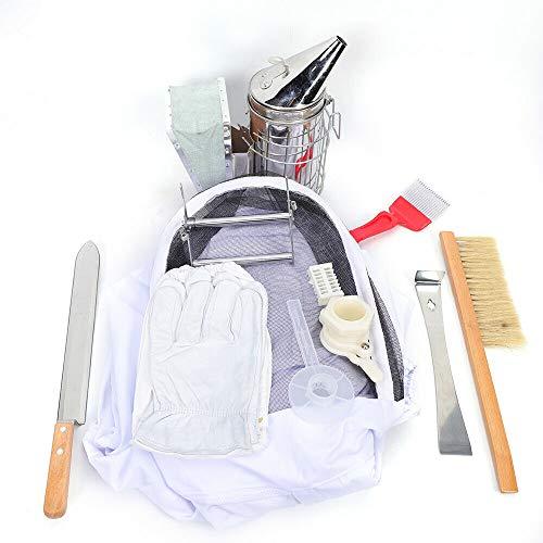 enenzucht Anzug Handschuhe Bienenstock Schaber Pinsel Raucher Feeder Halter Werkzeugsatz ()