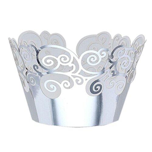 oulii Cupcake Wrappers Hochzeit Cupcake Dekorationen Geburtstag Baby Dusche Wrap Amtsheftung (Silber)
