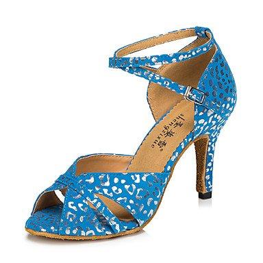Moda inferiore morbida pelle tracolla trasversale in metallo personalizzabili buckleNon donna scarpe da ballo Pelle latino /moderno Sneakers Chunky Heel pratica Blue