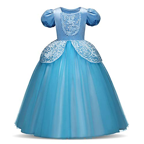 RBHSG 4 7 8 9 10 Years ELSA Dress Children Role-Play Costume Princess Cinderella Girls Ball Gown Party Christmas Cosplay Vestido Blue Beige 7 (Zombie Little Girl Kostüm)