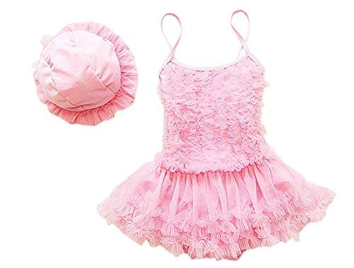 DELEY Prinzessin Mädchen Rüschen Tutu Kleid Badeanzug Bikini Strand Schwimmen Kostüme Bademode Mit Hut Rosa 5-6 Jahre -