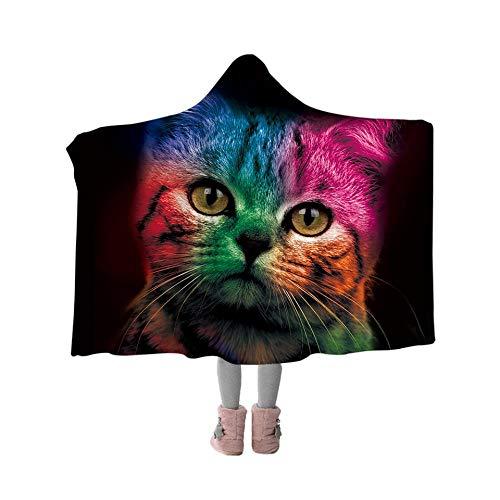 GHLMT Bunte Katze mit Kapuze Decke niedlichen Tier Sherpa Fleece werfen Decke Erwachsene Kinder tragbare Decke für Picknick im Freien (Decke Fleece Katze Werfen)