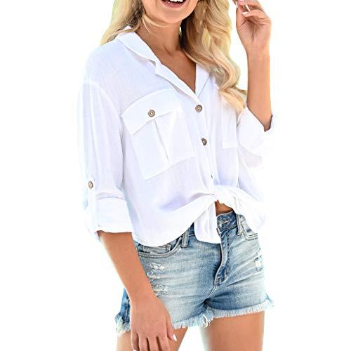Damen Oberteile Kolylong Frauen Vintage V-Ausschnitt Leinen Blusen 3/4 arm Sommer Leicht Bandage T-Shirt mit Knopf Weiß Hemdshirt mit Tasche Kragen Oberteil Tunika Crop Tops -