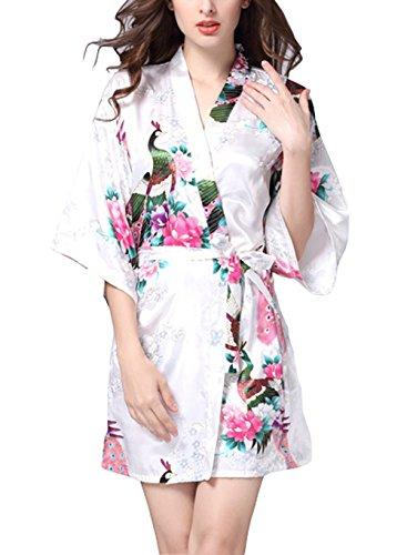 Lannorn Damen 12 Farben Morgenmantel Kimono aus Satin Seide Robes Kurz Pfau und Bl▒ten Nachtw▒sche Badem▒ntel , Size XXL