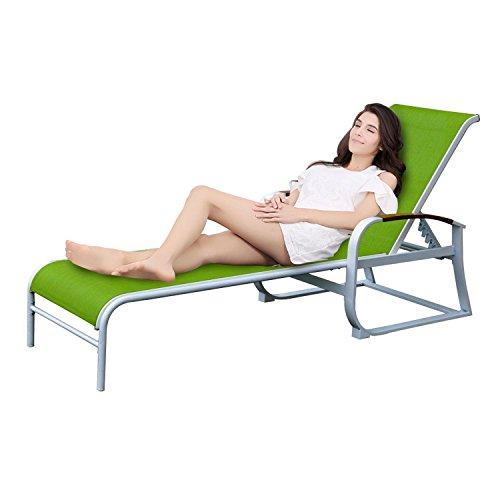 Liege Garten Gartenliege Sonnenliege Relaxliege Liegestühle Liegestuhl Grün Relax Sonnenbad Verstellbar Stahl XXL 217 x 57,5 x 33 cm