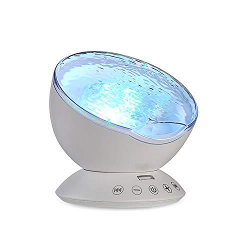 CAPTIANKN Proyector De Océano De Control Remoto Lámpara De Proyección Submarina LED Luz De La Noche Colorido Onda Niños Reproductor De Música para Adultos,White
