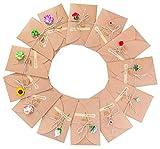 Grußkarte - 13 Stück Grußkarten Set Blanko Handgemachtes Retro Kraftpapier danken Ihnen Karten mit 13 Getrockneten Blumen, Aufkleber und Jute Twine