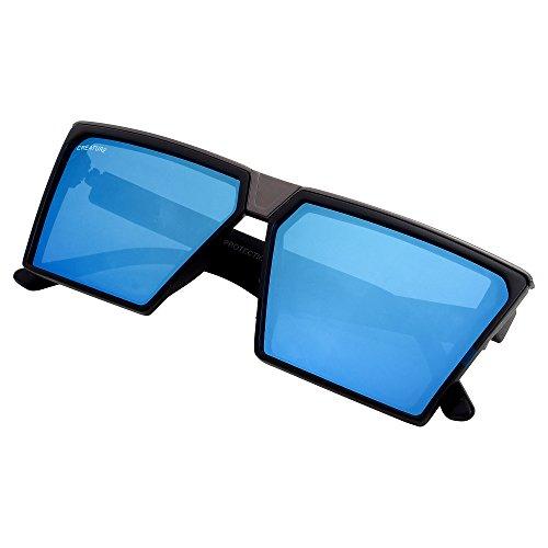 Creature Matt Finish Rectangular Uv Protected Sunglasses(RCL-001) (Black, Blue)