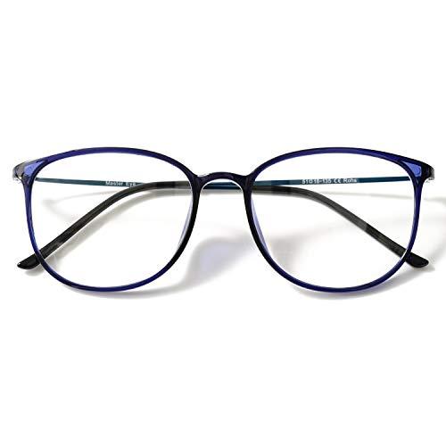 KOOSUFA Klassische Retro Brillengestelle Nerdbrille Herren Damen Dünne Brille Ohne Sehstärke Streberbrille Groß Pantobrille Ultra Licht TR90 Brillenfassung mit Etui (Blau)
