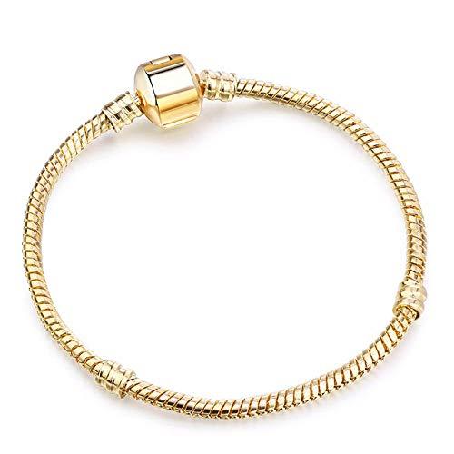 Magssdy Fashionable Silver Snake Chain Fine Bracelet for European Charm Bracelet Women's Jewelry @19cm