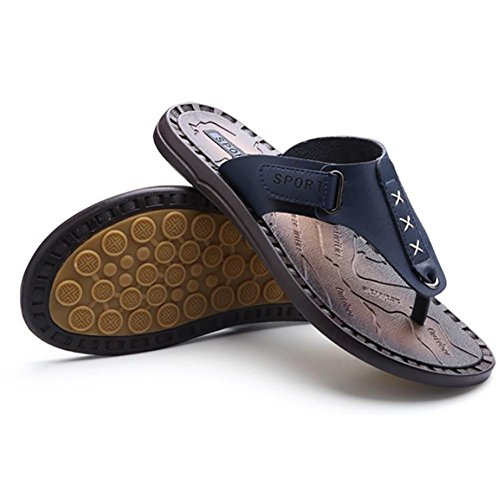 SHANGXIAN Chaussons d'été hommes véritable cuir Classic mode Casual Anti-ensabotage tongs Blue